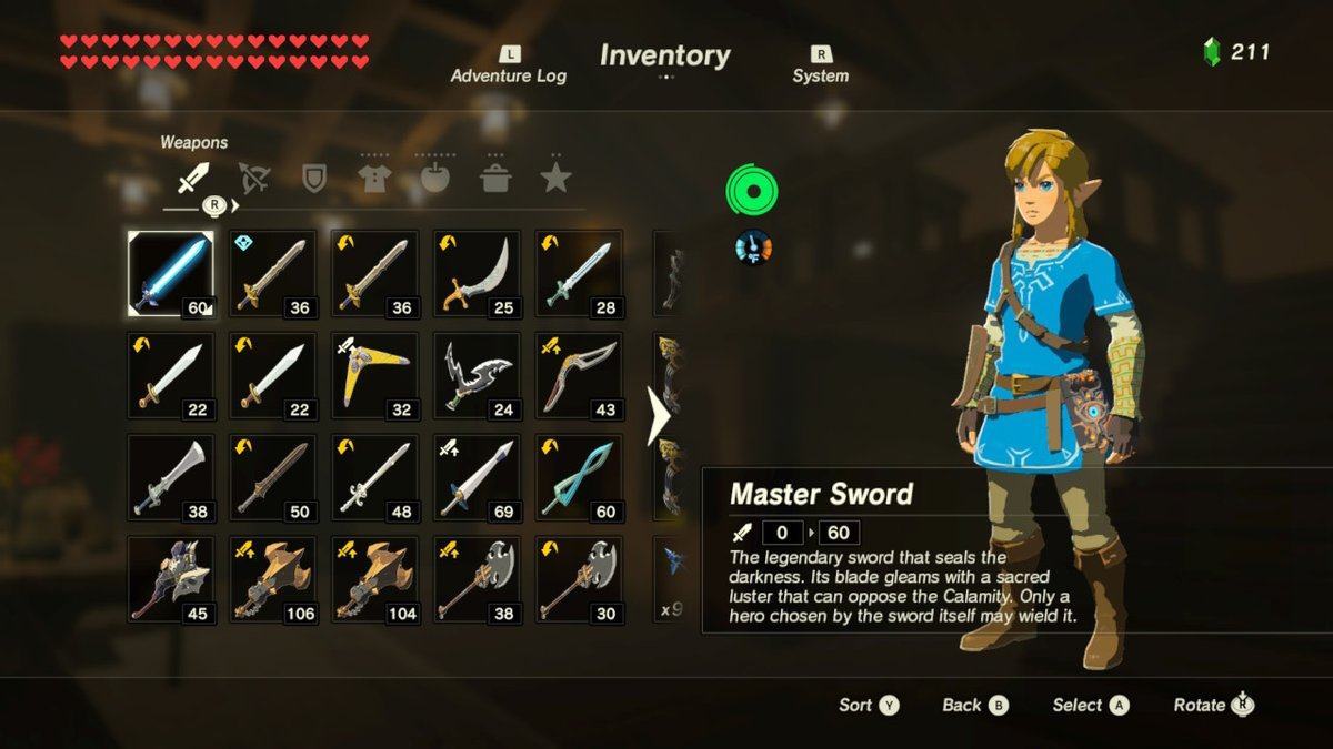 Link's weapon inventory, maxed out